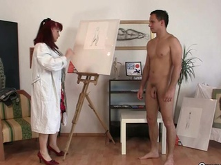 Lovely girl loves painting and his pecker