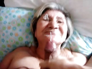 Huge Cumload on Grannys Face