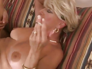 Hot Blonde Older Mature Cougar Smoke BJ and Bang