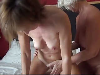 two horny grannies share one young stiff cock