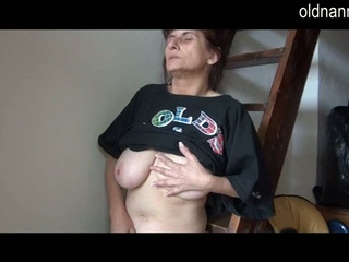Hot aged lady liking masturbation onto the staircase