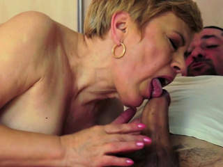 Horny grandma moans for oral action