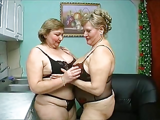 two old chubby mature have wild sex in black lingerie