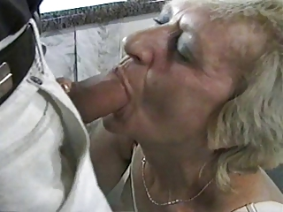 Silver hair Granny fucked on desk