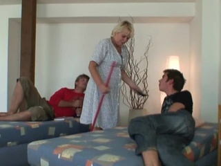Aged cleaning donna is fucked by 2 lads