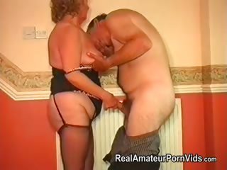 Fat granny with her husband have sex in the living room