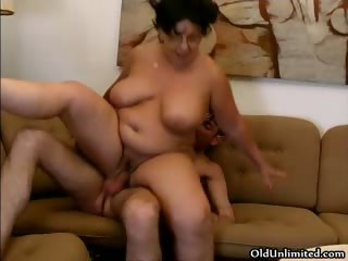 Horny fat grandma gets her pussy fucked